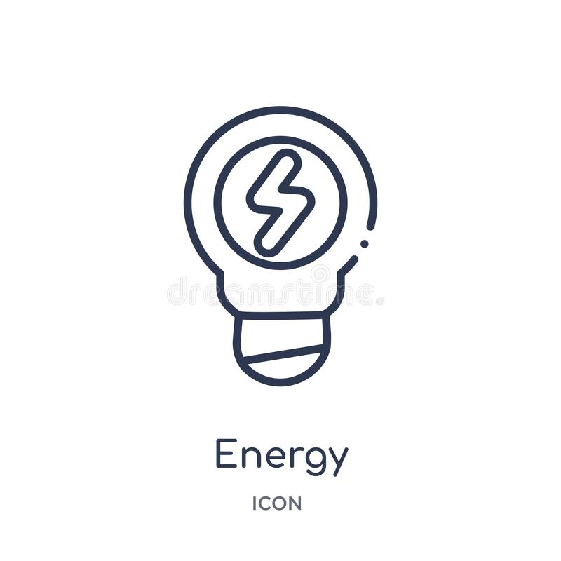 Linear energy icon from Industry outline collection. Thin line energy icon isolated on white background. energy trendy stock illustration