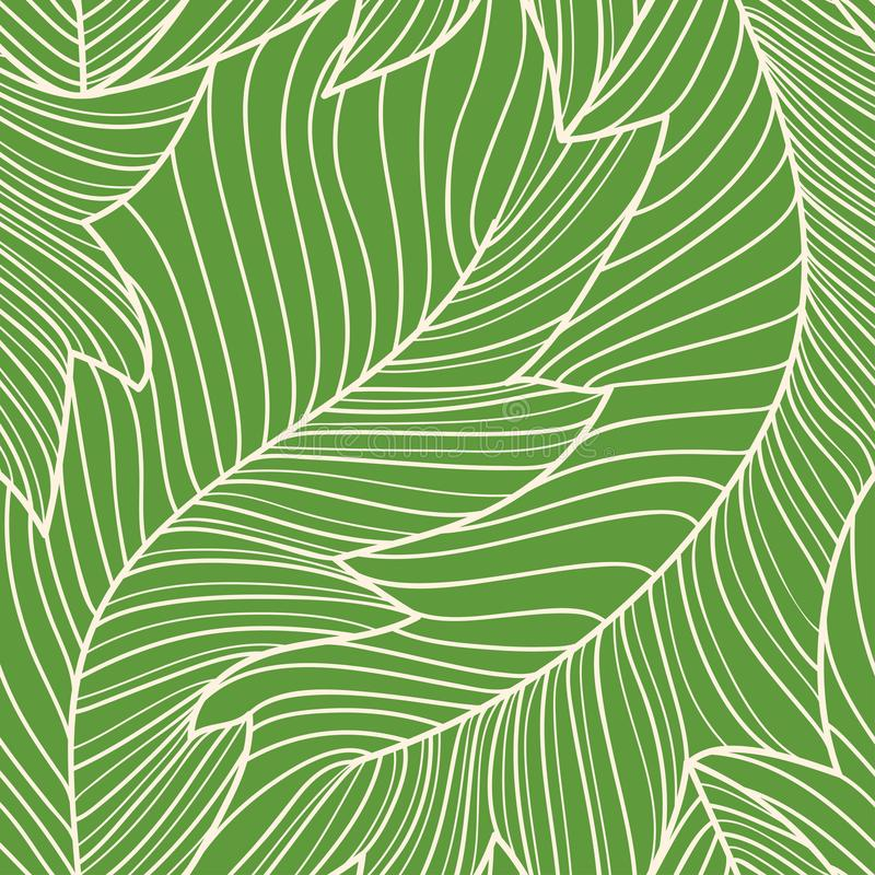 Linear engraving banana leaves seamless pattern royalty free illustration