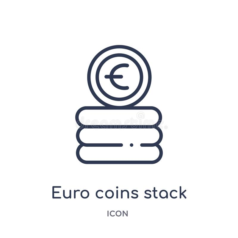 Linear euro coins stack icon from Business outline collection. Thin line euro coins stack icon isolated on white background. euro vector illustration