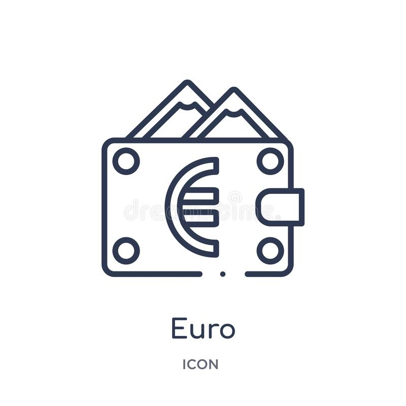 Linear euro icon from Ecommerce and payment outline collection. Thin line euro vector isolated on white background. euro trendy stock illustration