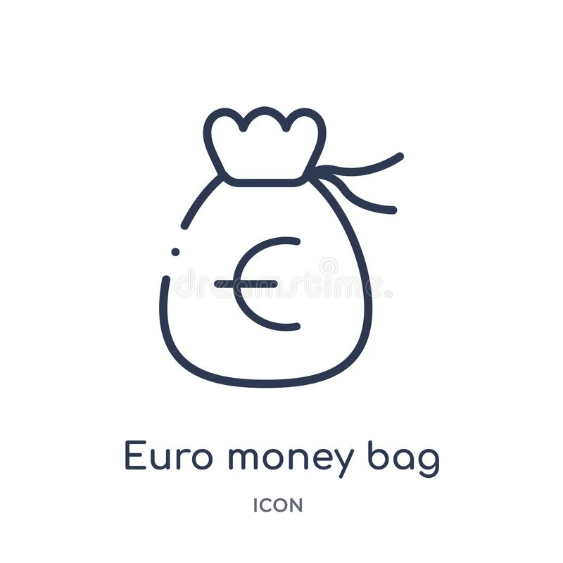 Linear euro money bag icon from Business outline collection. Thin line euro money bag icon isolated on white background. euro stock illustration