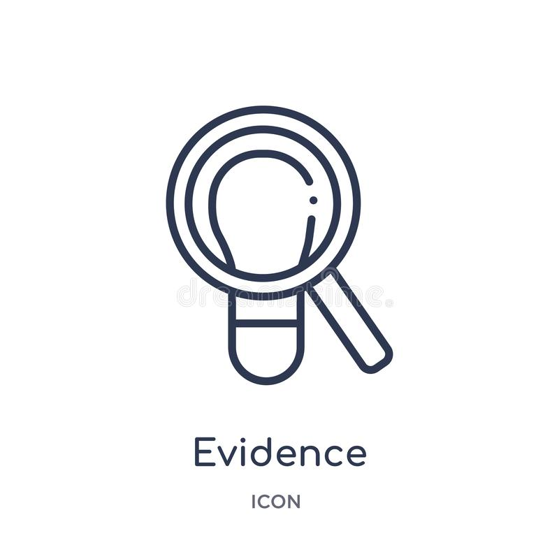 Linear evidence icon from Law and justice outline collection. Thin line evidence icon isolated on white background. evidence royalty free illustration