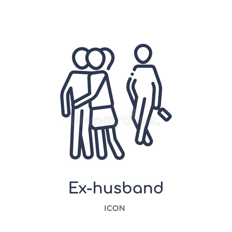 Linear ex-husband icon from Family relations outline collection. Thin line ex-husband vector isolated on white background. ex- royalty free illustration