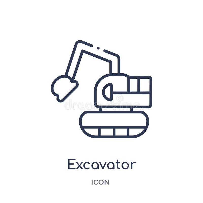 Linear excavator icon from Industry outline collection. Thin line excavator icon isolated on white background. excavator trendy. Illustration vector illustration