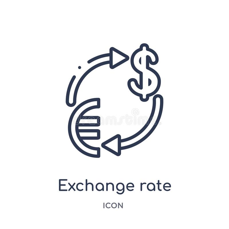 Linear exchange rate icon from Ecommerce and payment outline collection. Thin line exchange rate vector isolated on white royalty free illustration