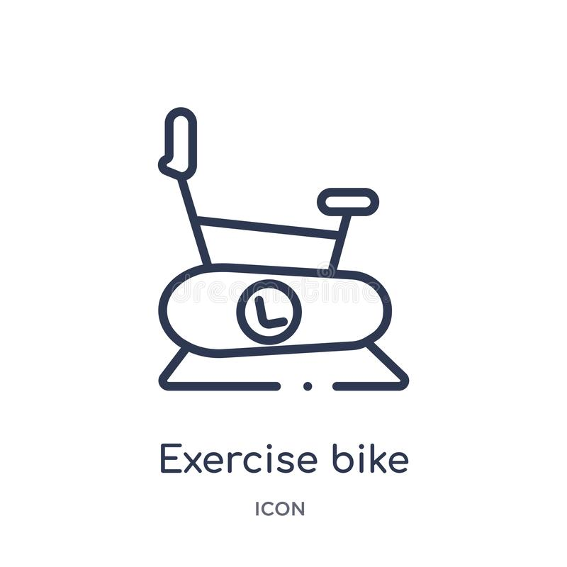 Linear exercise bike icon from Gym and fitness outline collection. Thin line exercise bike icon isolated on white background. Exercise bike trendy illustration stock illustration