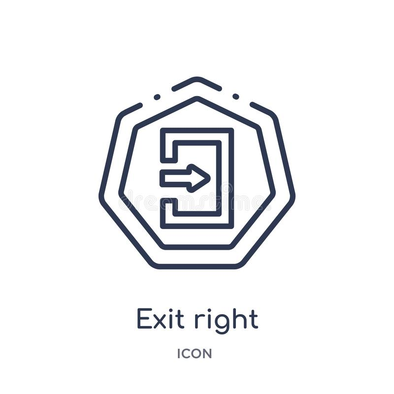 Linear exit right icon from Arrows outline collection. Thin line exit right vector isolated on white background. exit right trendy stock illustration