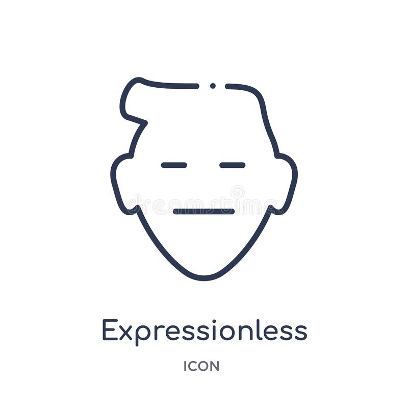 Linear expressionless emoji icon from Emoji outline collection. Thin line expressionless emoji vector isolated on white background. Expressionless emoji trendy stock illustration