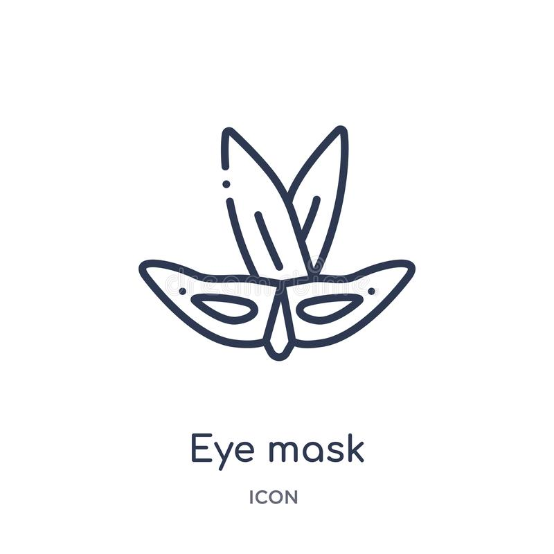 Linear eye mask icon from Brazilia outline collection. Thin line eye mask vector isolated on white background. eye mask trendy stock illustration