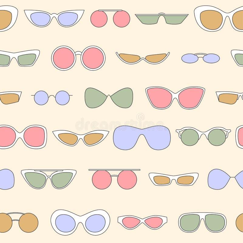 Linear eyewear seamless pattern, various trendy sunglasses vector illustration