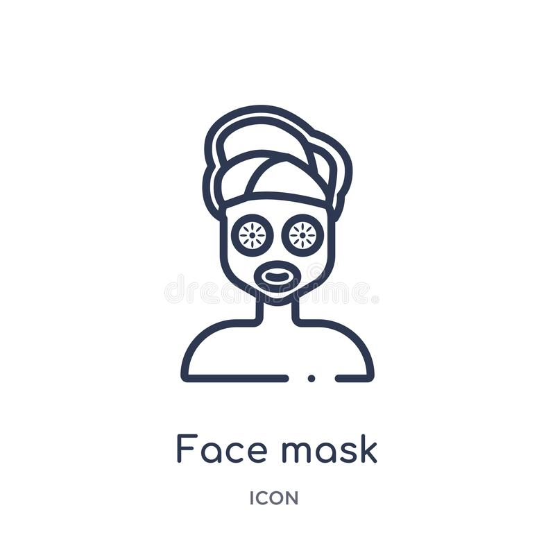 Linear face mask icon from Beauty outline collection. Thin line face mask vector isolated on white background. face mask trendy royalty free illustration