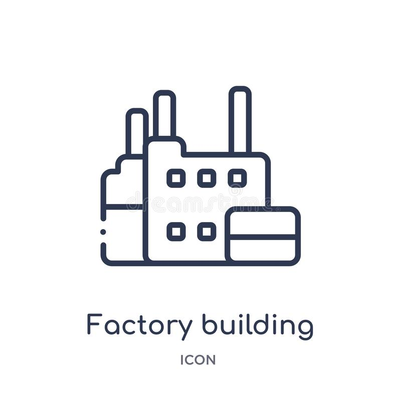 Linear factory building icon from Industry outline collection. Thin line factory building icon isolated on white background. royalty free illustration