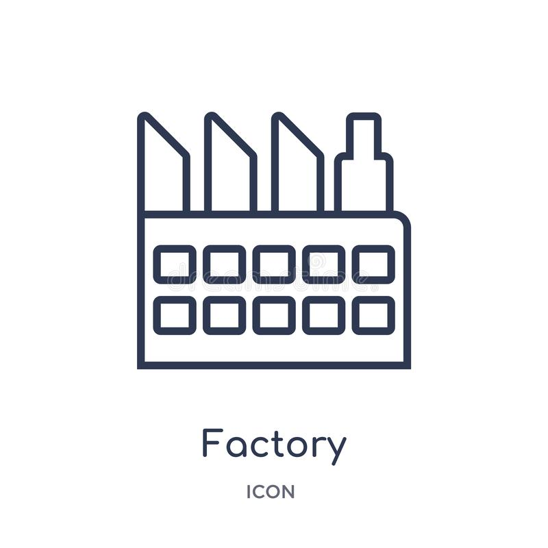 Linear factory icon from Delivery and logistic outline collection. Thin line factory vector isolated on white background. factory royalty free illustration