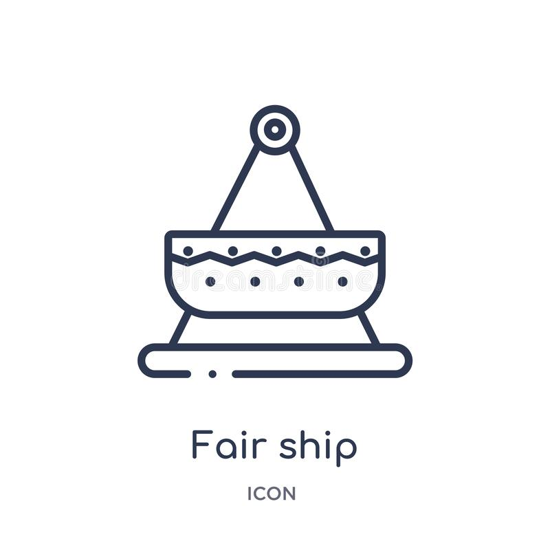 Linear fair ship icon from Entertainment outline collection. Thin line fair ship icon isolated on white background. fair ship royalty free illustration