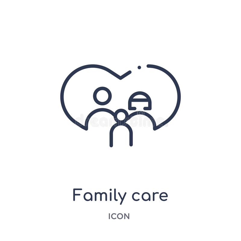 Linear family care icon from Insurance outline collection. Thin line family care icon isolated on white background. family care. Trendy illustration stock illustration