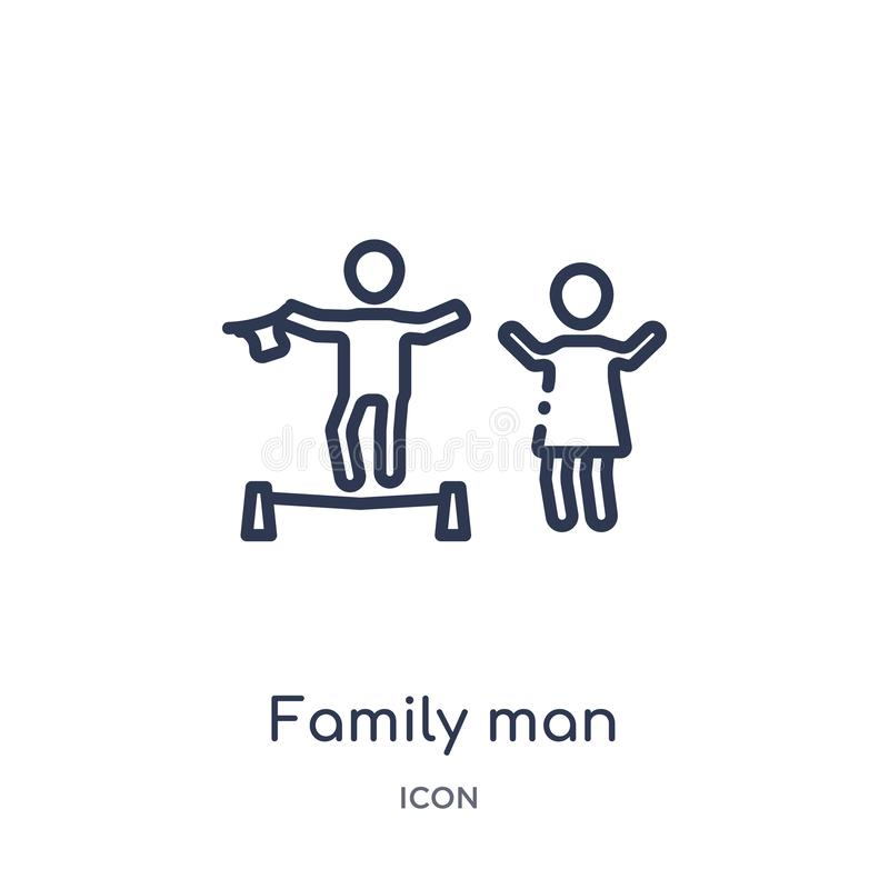 Linear family man icon from Circus outline collection. Thin line family man vector isolated on white background. family man trendy stock illustration