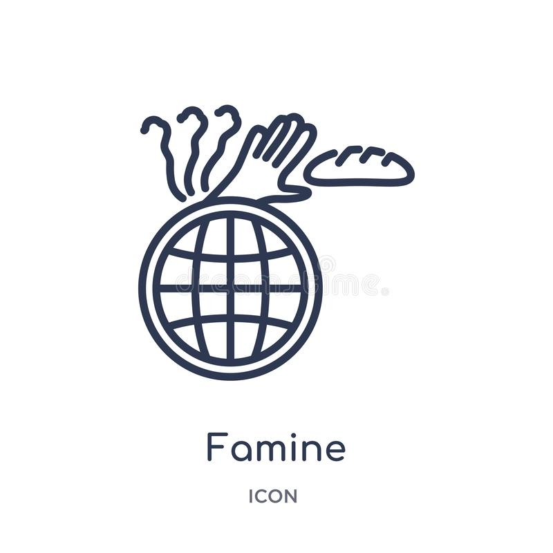 Linear famine icon from Ecology and environment outline collection. Thin line famine icon isolated on white background. famine vector illustration