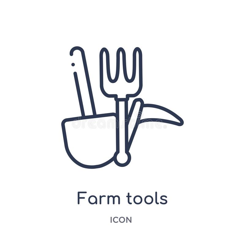 Linear farm tools icon from Agriculture farming and gardening outline collection. Thin line farm tools vector isolated on white vector illustration