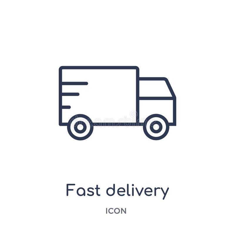 Linear fast delivery icon from Delivery and logistics outline collection. Thin line fast delivery vector isolated on white vector illustration