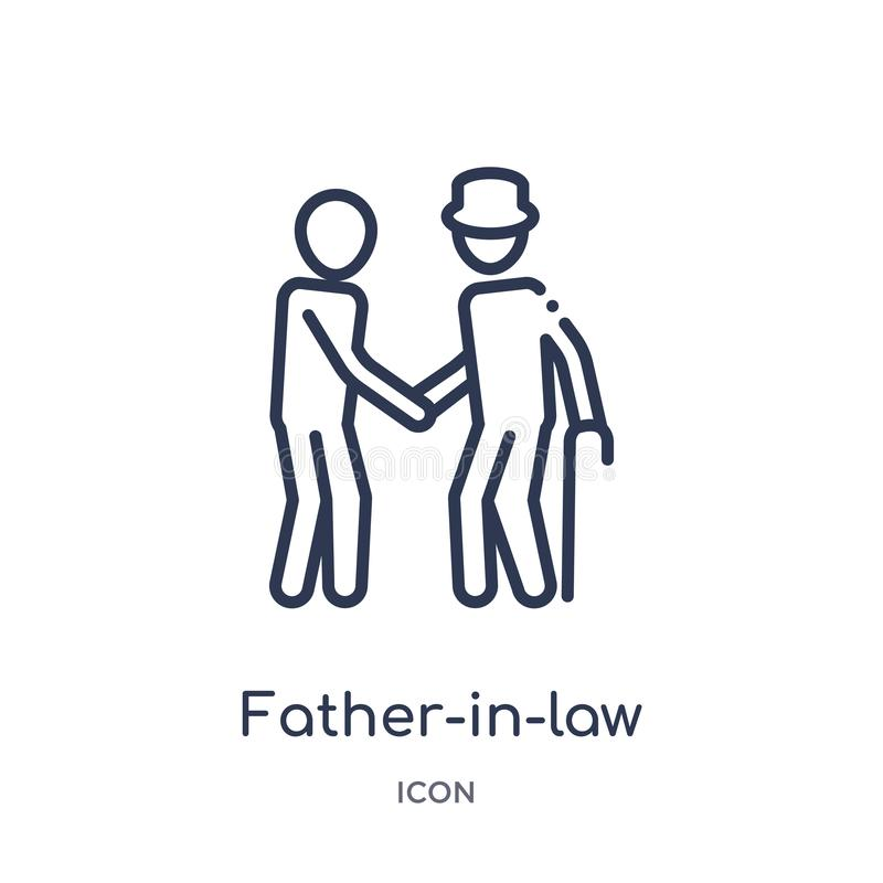 Linear father-in-law icon from Family relations outline collection. Thin line father-in-law vector isolated on white background. stock illustration