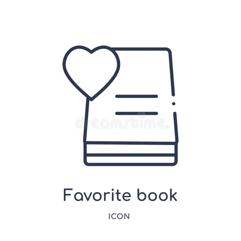 Linear favorite book icon from Education outline collection. Thin line favorite book vector isolated on white background. favorite stock illustration