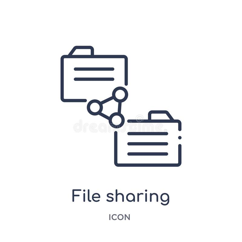 Linear file sharing icon from Networking outline collection. Thin line file sharing icon isolated on white background. file stock illustration