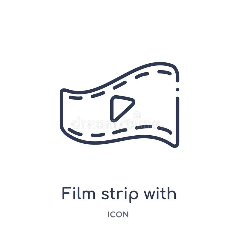 Linear film strip with play triangle icon from Cinema outline collection. Thin line film strip with play triangle icon isolated on royalty free illustration