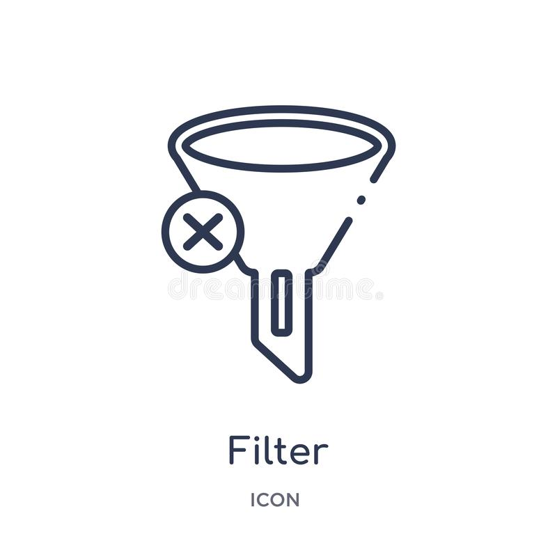 Linear filter icon from Blogger and influencer outline collection. Thin line filter vector isolated on white background. filter royalty free illustration