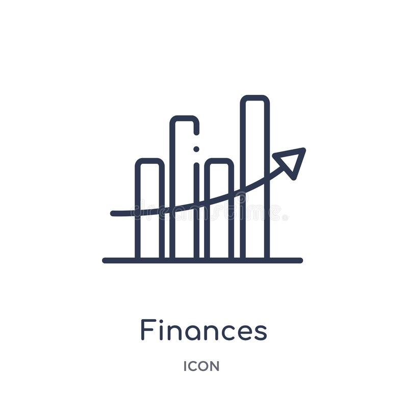 Linear finances statistics descending bars graphic icon from Business outline collection. Thin line finances statistics descending stock illustration