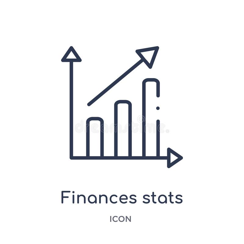 Linear finances stats bars graphic with up arrow icon from Business outline collection. Thin line finances stats bars graphic with royalty free illustration