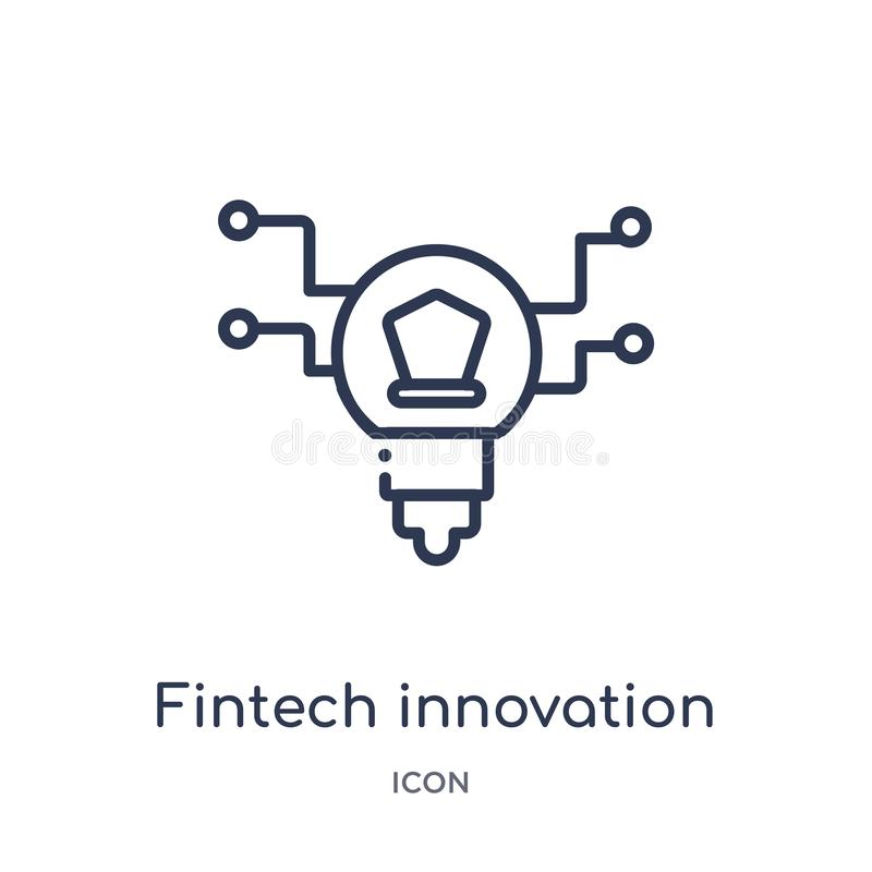 Linear fintech innovation icon from General outline collection. Thin line fintech innovation icon isolated on white background. stock illustration