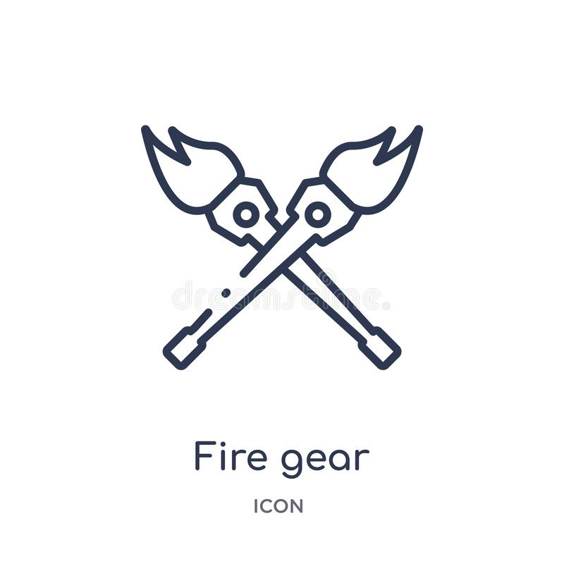 Linear fire gear icon from Circus outline collection. Thin line fire gear vector isolated on white background. fire gear trendy stock illustration