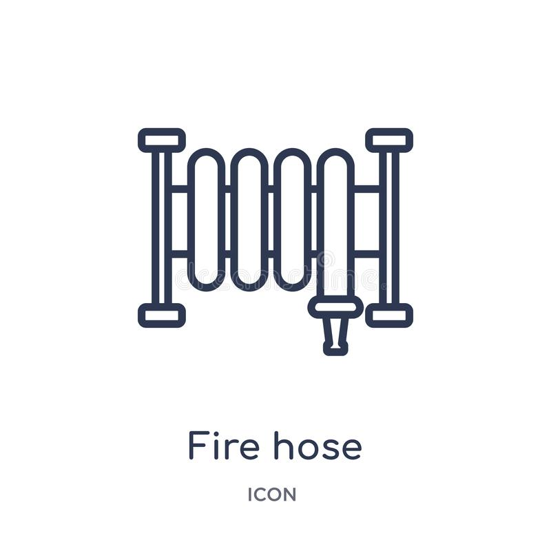 Linear fire hose icon from General outline collection. Thin line fire hose icon isolated on white background. fire hose trendy royalty free illustration