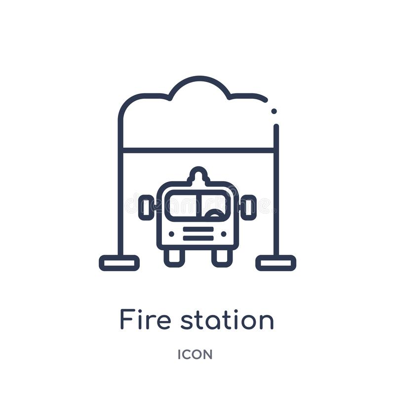 Linear fire station icon from City elements outline collection. Thin line fire station vector isolated on white background. fire stock illustration