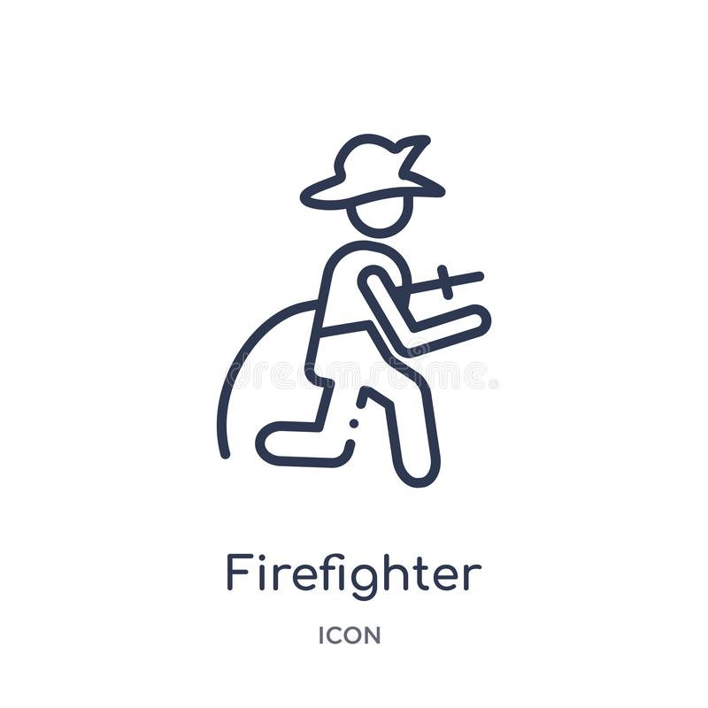 Linear firefighter icon from Job profits outline collection. Thin line firefighter icon isolated on white background. firefighter vector illustration
