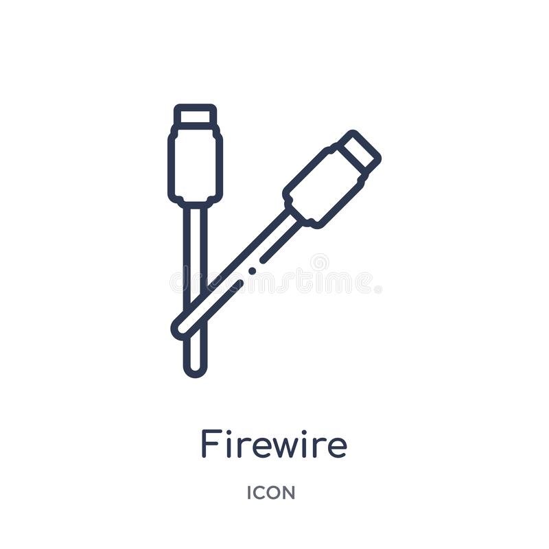 Linear firewire icon from Hardware outline collection. Thin line firewire icon isolated on white background. firewire trendy stock illustration