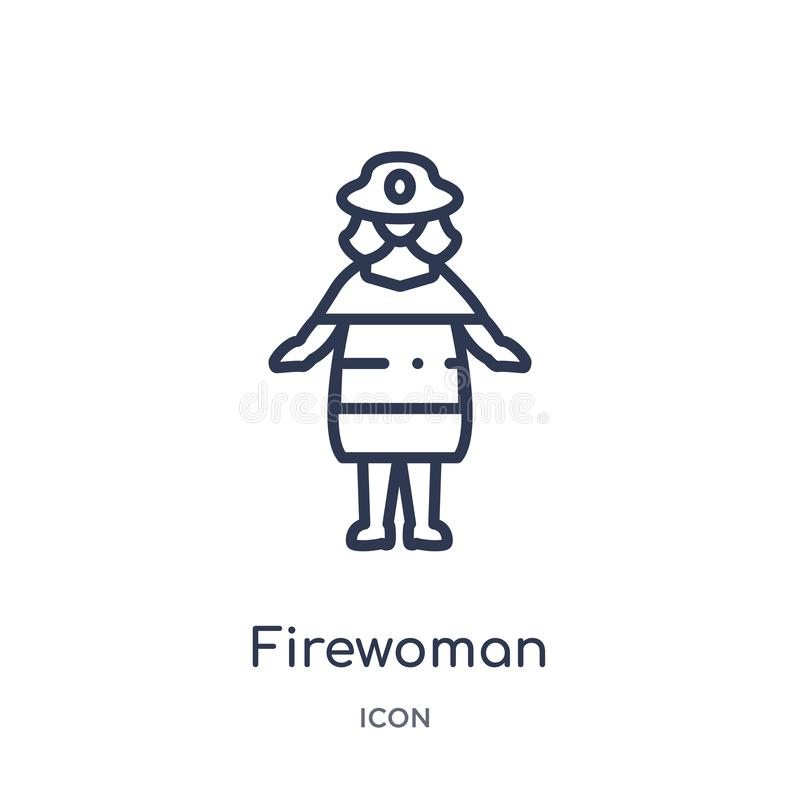 Linear firewoman icon from Ladies outline collection. Thin line firewoman icon isolated on white background. firewoman trendy royalty free illustration