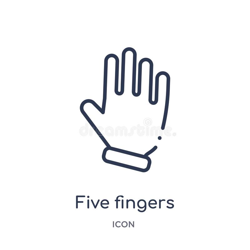 Linear five fingers icon from Hands and guestures outline collection. Thin line five fingers icon isolated on white background. stock illustration