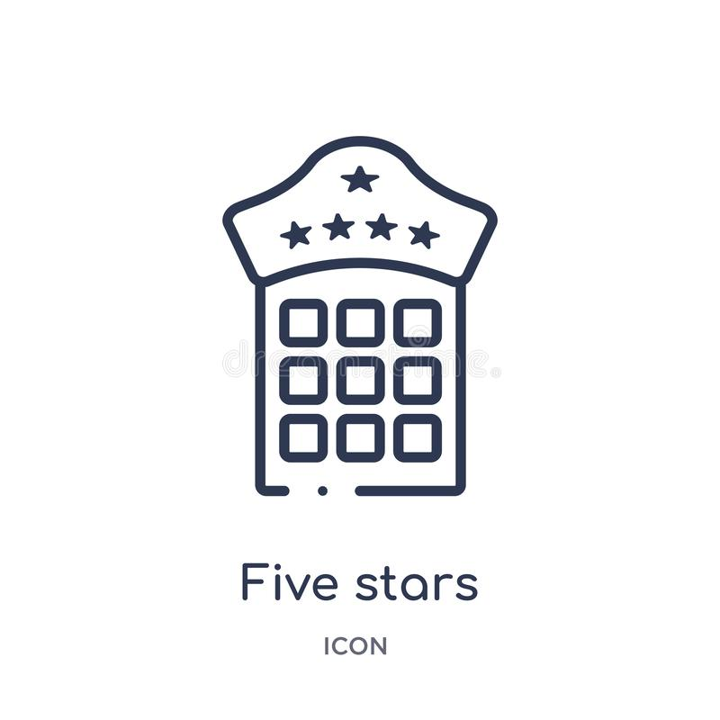 Linear five stars icon from Accommodation outline collection. Thin line five stars icon isolated on white background. five stars stock illustration