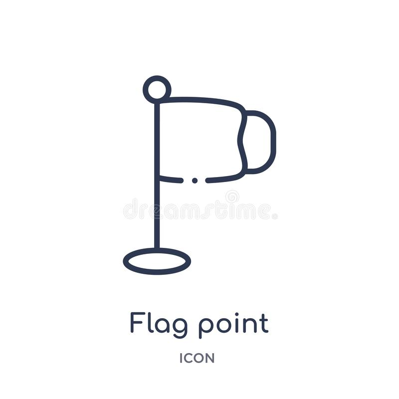 Linear flag point icon from Education outline collection. Thin line flag point vector isolated on white background. flag point royalty free illustration