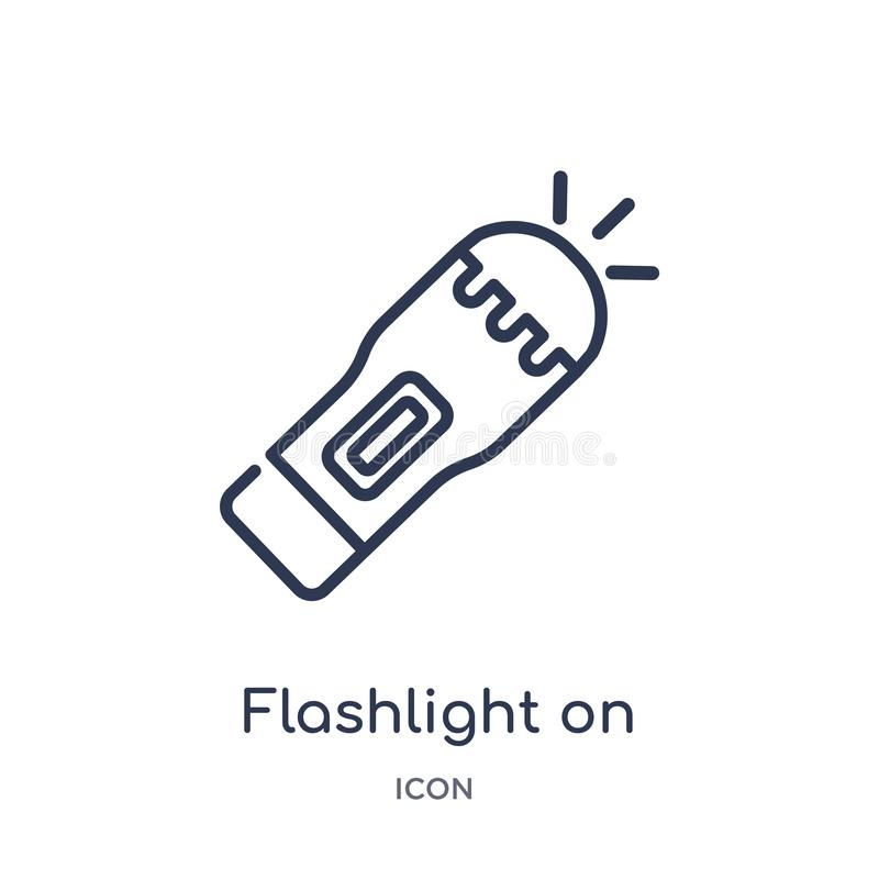 Linear flashlight on icon from General outline collection. Thin line flashlight on icon isolated on white background. flashlight vector illustration