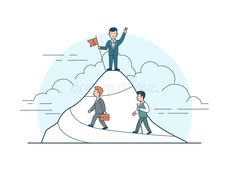 Linear Flat Achievement business man mountain flag vector illustration