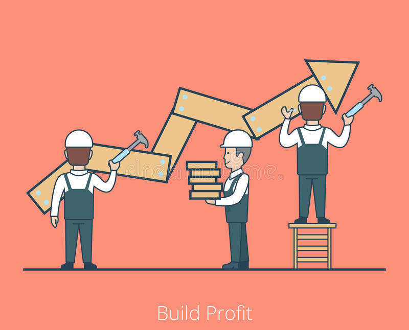 Linear Flat Build Profit worker nailing hammer vector illustration