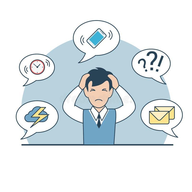 Linear Flat business man head phone deadline stock illustration