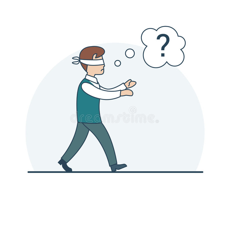 Linear Flat business man tied eyes chat question v royalty free illustration
