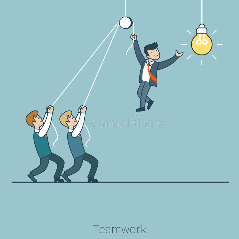 Linear Flat business men hold one changes lamp vector illustration