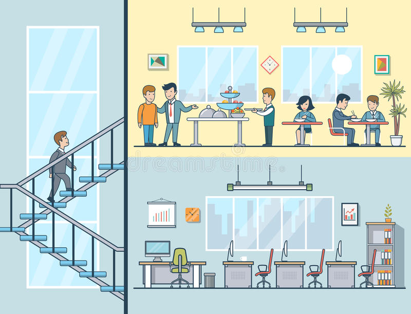 Linear Flat Business men women having lunch office. Linear Flat Business men and women having lunch, empty working place, building interior vector illustration stock illustration