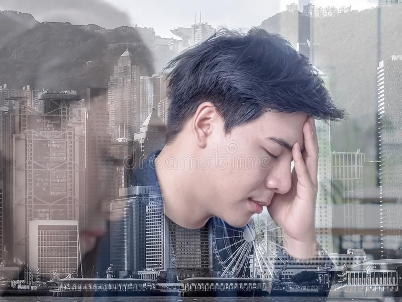 Linear Flat Business people disappointed about the loss. Graphic on monitor falling down. Business Fall concept.  stock photo