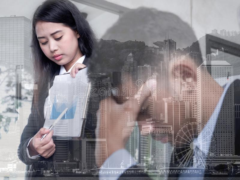 Linear Flat Business people disappointed about the loss. Graphic on monitor falling down. Business Fall concept.  stock images