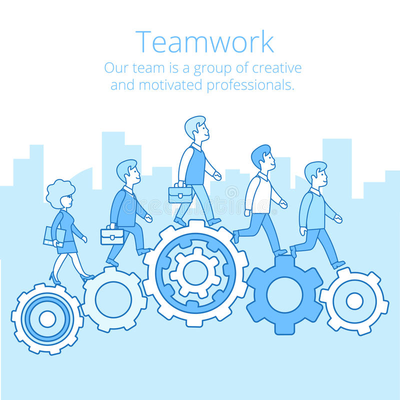 Free Linear Flat Business Team Work People Gearwheels V Royalty Free Stock Images - 86543249